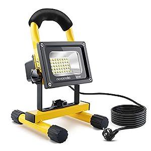 NOVOSTELLA 20W 1600LM Foco Proyector LED con 5M Cable, LED Portatíl Trabajo Interior o Exterior, Blanca Fría 6000K, Impermeable IP65, Flexible Con Enchufe de EU Para Patio, Terraza, Camping