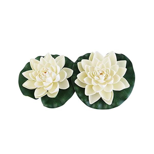 Tinksky Estanque plantas artificiales loto lirios de agua Pack de 6pcs