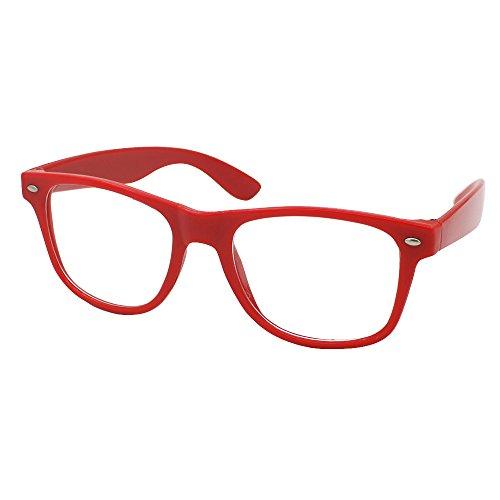 Mode Spaß Unisex Klare Linse Nerd Geek Gläser Brille (Rot)
