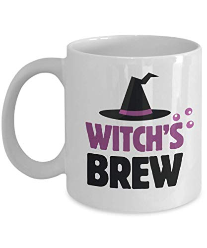 Witch's Brew Cute Witch Hat Halloween Themed Coffee & Tea Gift Mug, Party Favors, Decorations, Props, Supplies, Accessories, Stuff, Items, Serveware And Kitchen Ornaments 11oz