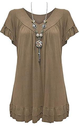 New Ladies Womens Gypsy Frill Hippy Plus Size Necklace Top MOCHA UK SIZE 16-18