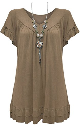 Vanilla Inc Damen Bluse Gr. 115B, Mokka