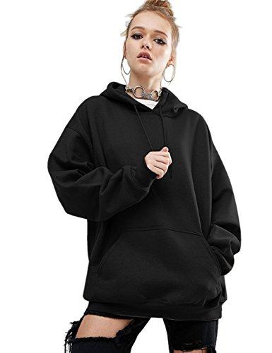 Aibrou Damen Kapuzenpullover Baumwolle Winter Hoodie Pullover Casual Sweatjacke Sweatshirt Kapuzen Shirt Jacke mit Tasche, S (Tag M), Schwarz