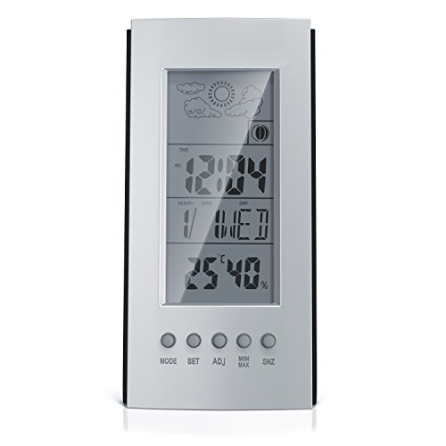 CSL - digitaler Wecker mit Temperaturanzeige - Wetterstation batteriebetriebener - Snooze Funktion - Uhrzeit Datum Mondphasen Hygrometer Innentemperatur in °C und °F - Silber