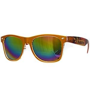 Oramics ® occhiali neri da sole Wayfarer retro della nullità chiaro e nero (Orange-pattern1)