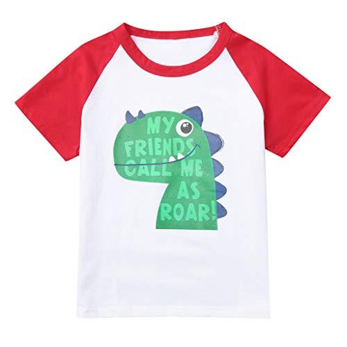 JUTOO Kinder Kinder Jungen Mädchen Sommer Kurzarm Brief Dinosaurier Gedruckt T-Shirt Tops Kleidung (rot 1,S)