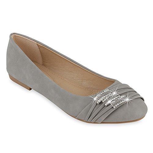 Klassische Damen Schuhe | Strass Ballerinas | Elegante Slipper| Übergrößen | Metallic Glitzer Flats Hellgrau