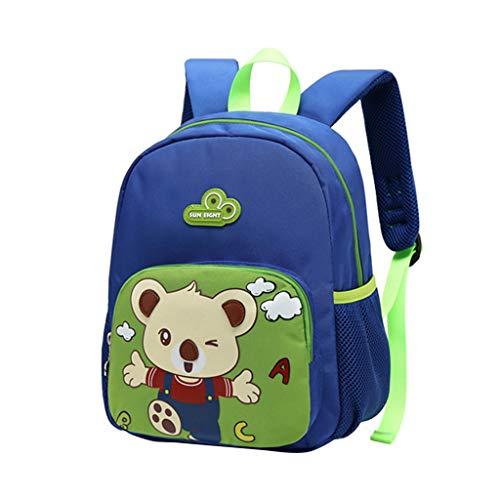 Kleinkind Kinderrucksack für Mädchen Jungen, Kindergarten Schulranzen Karikatur Bär 11,8 Zoll Nylon (Blau Grün) -