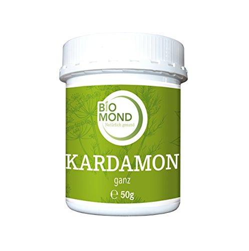 Kardamon Cardamon ganz grün Kardamonkapseln Premium BIOMOND 50 g/Rohkostqualität
