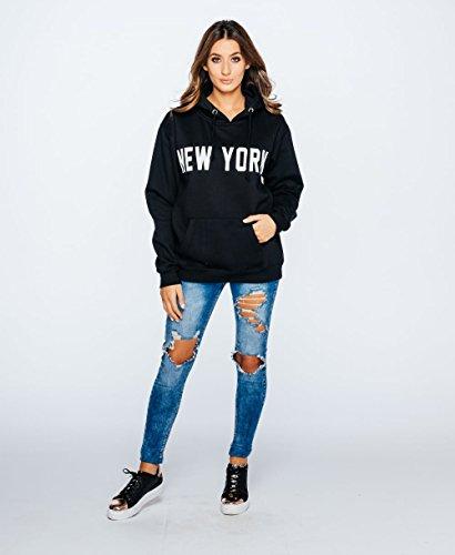 Ladies New York Slogan Graphic Print Sweat à capuche surdimensionné EUR Taille 36-42 Noir
