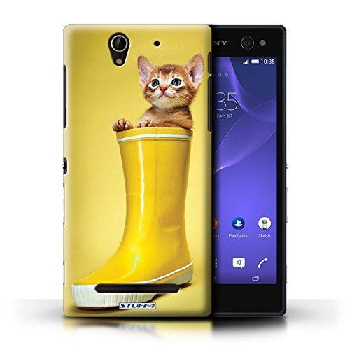 Kobalt® Imprimé Etui / Coque pour Sony Xperia C3 / Botte en caoutchouc conception / Série Chatons mignons Botte en caoutchouc