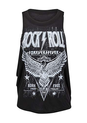 Schwarzes Rock'n'Roll Forever Adler Damen Tank Top T-Shirt - Gr. L (Damen Adler Bekleidung)