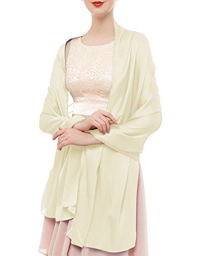 Bridesmay donna elegante seta sciarpe morbido collo solido avvolge scialli ivory