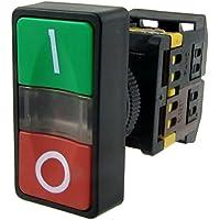 TOOGOO(R) AC 220V Luz amarilla ENCENDIDO APAGADO COMIENZO PARADA Interruptor de boton pulsador momentaneo 1 NO 1 NC