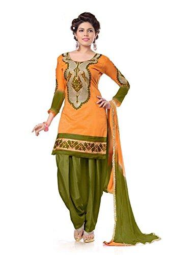Shree Mira Impex Women's Cotton Dress Material (SMIX-106_Free Size_Orange)