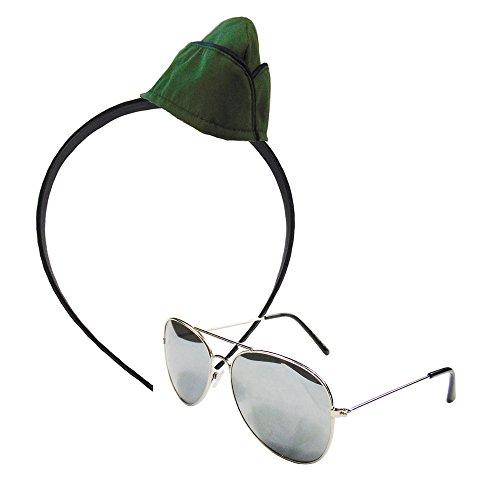 Partybob Army Girl Kostüm Accessoires - 2-teilig - Militär-Hut + Brille