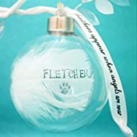 Feather Memorial Gift Personalised Glass Round Christmas Bauble. In Memory Of Mum Dad etc
