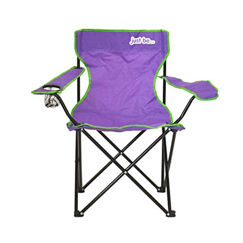 just be.® Folding Camping Chair - Purple with Green Trim