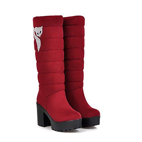 VogueZone009 Damen Hoch-Spitze Ziehen auf Mattglasbirne Hoher Absatz Rund Zehe Stiefel, Rot, 41
