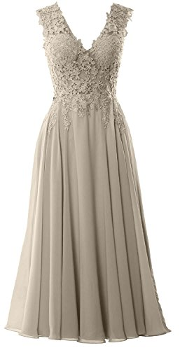 MACloth Gorgeous Tea Length Prom Homecoming Dress V Neck Formal Evening Gown Silber
