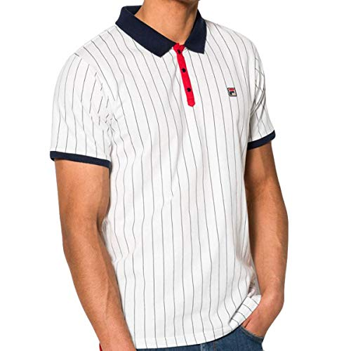 f786956c0173 Fila Vintage BB1 Classic Stripe Polo Shirt | White/Peacoat/Red Small
