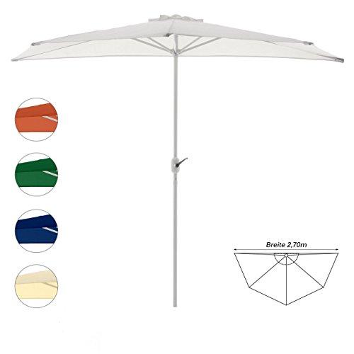 Nexos Sonnenschirm Weiß halbrund Ø 2,70 x 1,40m Wandschirm Balkon-Schirm mit Kurbel Polyester 160...