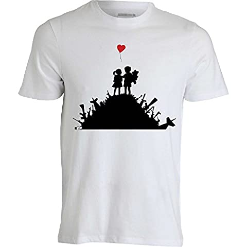 Banksy Graffiti Heart balloon War and Love Guns Street Art T shirt homme blanc (XL)