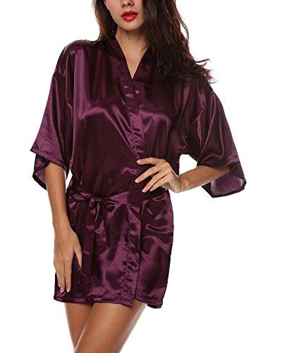 Avidlove Chemise de Nuit Femmes Sexy Robe de Nuit Manches Longues Peignoir Satin Elégant Taille M-XXL violet foncé
