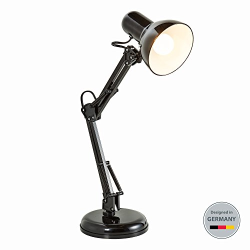 lampe mit Gelenk-Arm aus Metall | LED Halogen E14 | Schreibtischlampe Arbeitsplatzlampe Schreibtischleuchte | 230V | IP20 (Retro-design-dekoration)