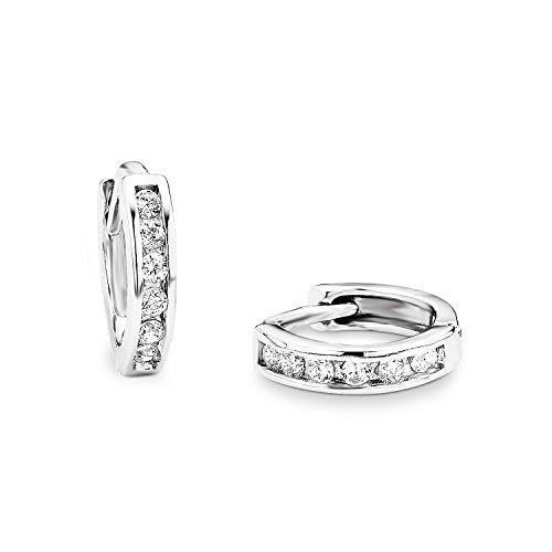 amor Damen-Creolen Ohrringe 10 mm 925 Sterling Silber rhodiniert Zirkonia weiß - 381734