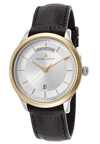 Maurice Lacroix Les Classiques Plata Dial Negro Correa de cuero de acero inoxidable bañado en oro dama reloj de cuarzo lc1227-pvy11–130