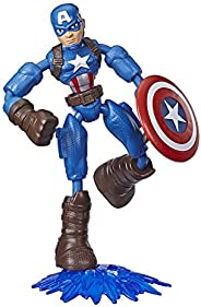 Marvel Avengers Bend and Flex Toy, 6-Inch Flexible Captain America Action Figure, Blast Accessory, Kids Ages 4