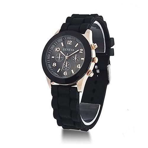Fashion, Unisex, in Silicone, per orologio da polso da uomo, analogico, al quarzo, con orologio, multicolore, nero