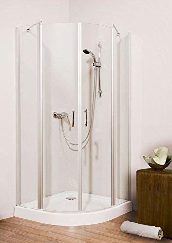 Duschmeister Duschkabine Runddusche Glass 5.0 Neo mit Pendeltür 90x90 cm 190 cm hoch Radius 550 viertelkreis Glaswand Glasdusche