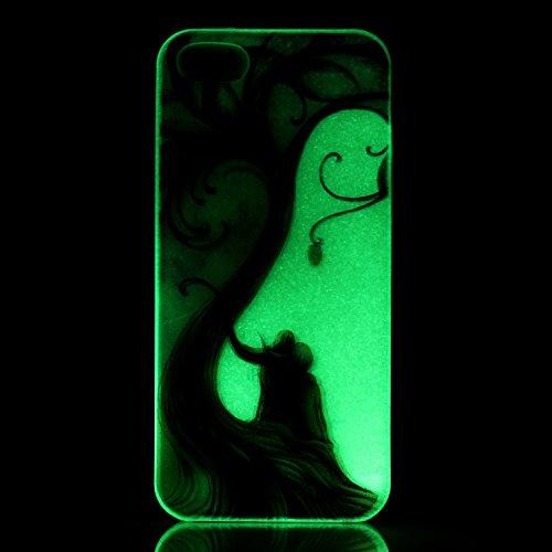 CaseHome iPhone SE/5S/5 Luminous Hülle (Mit Frie Displayschutzfolie) Leuchtende Silikone Rückhülle Für iPhone 6 6s Plus 5.5 Zoll Zoll Silikon Etui Handy Hülle Weiche Transparente Luminous TPU Back Cas Paar-Liebe-Baum
