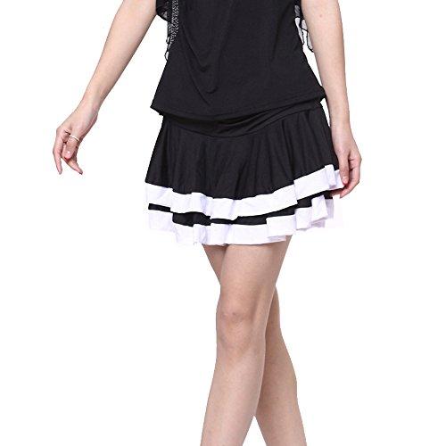 FaithYoo Damen Schößchen Kleid Schwarz Schwarz Gr. m, Schwarz - (Bauchtanz Vintage Kostüme Stil)
