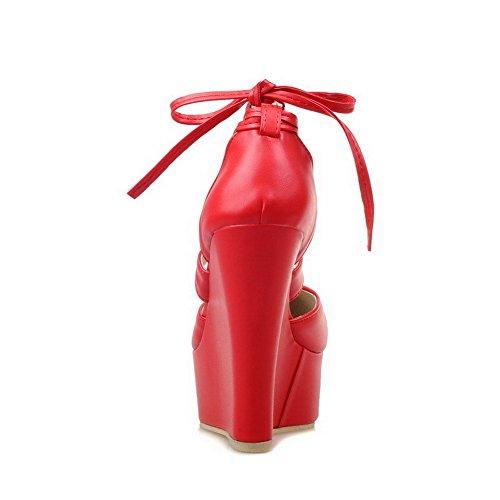 AllhqFashion Damen Pu Leder Hoher Absatz Rund Zehe Rein Schnüren Pumps Schuhe Rot