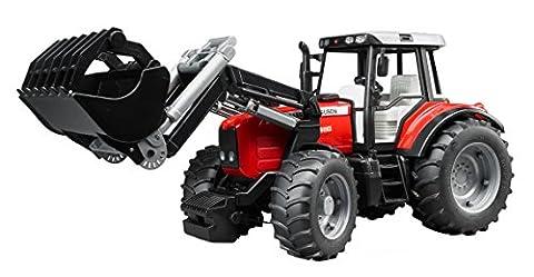 BRUDER - 02042 - Tracteur MASSEY FERGUSON 7480 rouge avec fourche