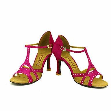 Scarpe da ballo-Personalizzabile-Da donna-Balli latino-americani Salsa-Tacco su misura-Raso-Nero Blu Giallo Rosa Viola Rosso Bianco Yellow