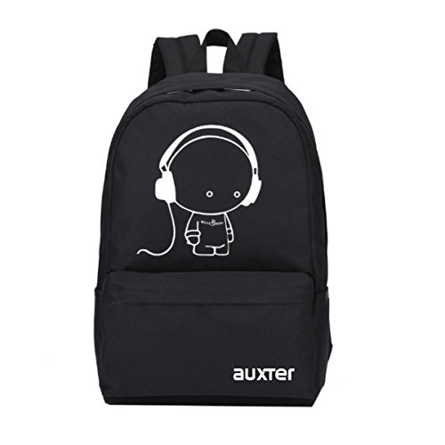 AUXTER Polyester Backpack, 15 L (Black, AUX_BP_MUSIC BOY-012)