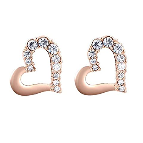 joyliveCY Women Charm Jewerly Rose Gold Plated Stud Heart Half Rhinestone Earrings