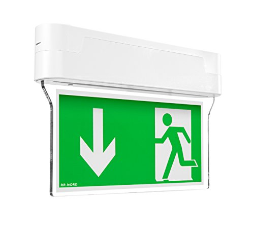 Notleuchte LED IP44 Decke Wand Notbeleuchtung Rettungszeichenleuchte Fluchtwegleuchte Notlicht Brandschutzzeichen Rettungszeichen (Pfeil nach unten)