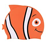 Freebily Kinder Silikon Schwimmkappe Badekappe für Jungen und Mädchen - Fisch Bademütze Badehaube - Mädchen Schwimmen Hut Orange One Size