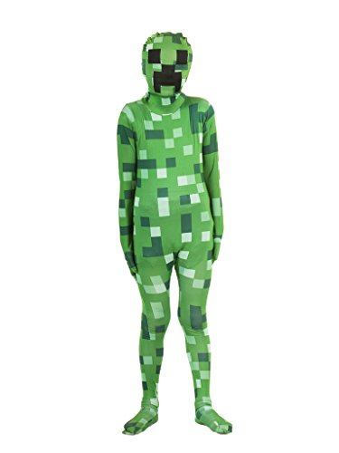 Pixelated Green Monster Morphsuit Costume (Kids -