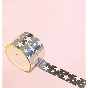 Rock Star in Silber Foil Washi Tape for Planning • Planer und Organizer • Scrapbooking • Deko • Office • Party Supplies • Gift Wrapping • Colorful Decorative • Masking Tapes • DIY(15mm breit - 10M)