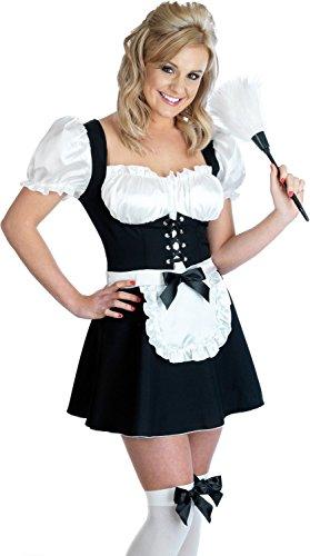 Sexy Dienstmädchen Kostüm (Strümpfe, kurzer Rock, Staubwedel) Größe (Up Dressing French Kostüme)