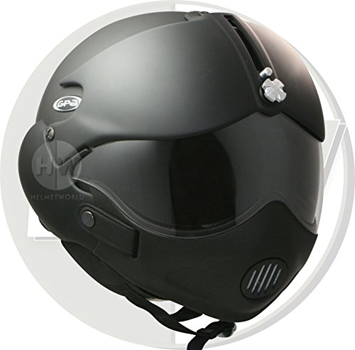 Preisvergleich Produktbild OPEN FACE SCOOTER HELMET OSBE GPA TORNADO MATT BLACK XS 53-54 cm + MASK