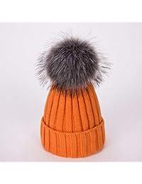 HAOLIEQUAN Sombreros para Mujer Añadir Gorros De Invierno para Mujer  Sombrero De Pompón Gorras con Diseño 050555dd945