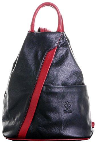 Italienischen weichen Napa Black & Red Leder Top Umhängetasche Rucksack Rucksack zu behandeln.Enthält Marken schützenden Aufbewahrungstasche (Top Zip Klassische Umhängetasche)