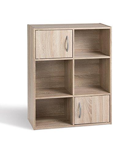 Alsapan compo - scaffale cubico 2 ante x 6 scomparti, in melamina, 80 x 61,5 x 29,5 cm finitura in rovere